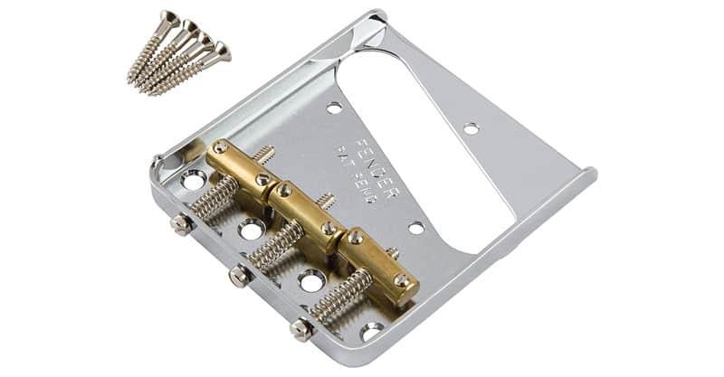 Fender Telecaster Chrome Bridge Assembly With 3 Brass Saddles
