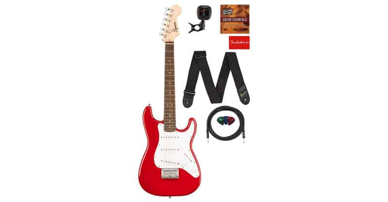 Fender Squier 3/4 Size Kids Mini Stratocaster Electric Guitar Learn-to-Play Bundle