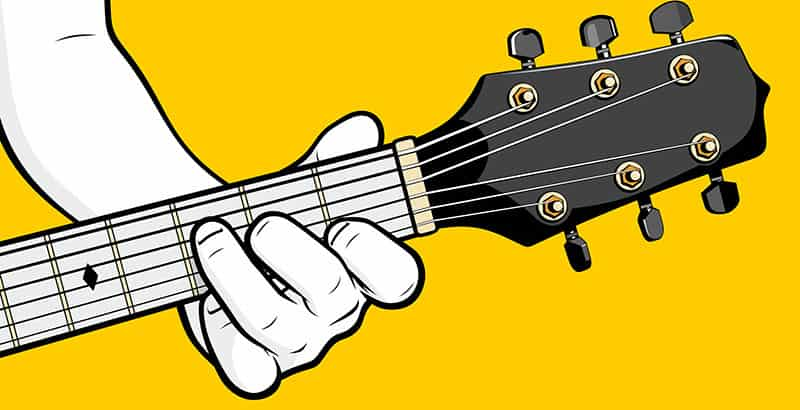 Hold down guitar strings with nails
